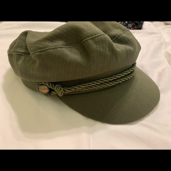 Army green newsboy cap